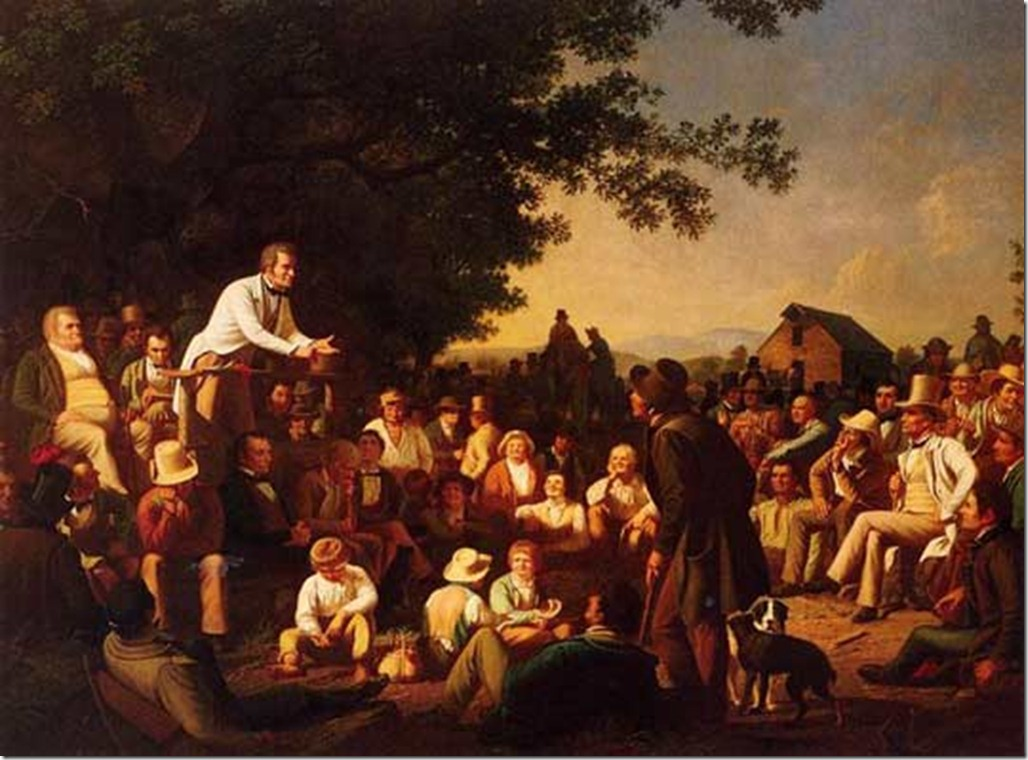 "George Caleb Bingham's  ""Stump Speaking"" painting"